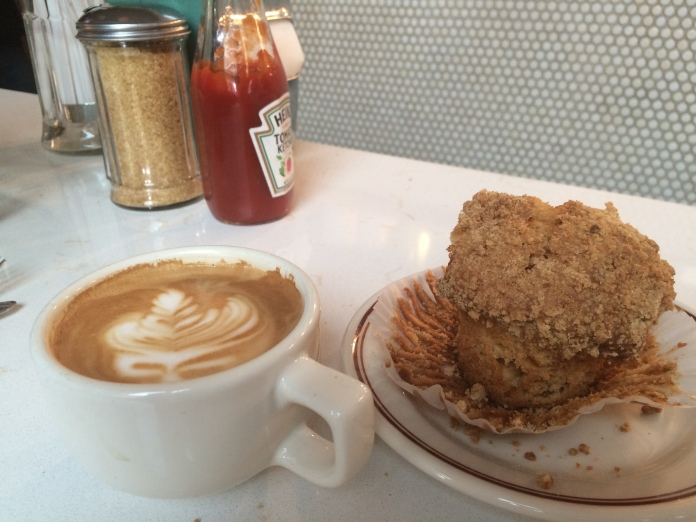 a latte love and an apricot muffin